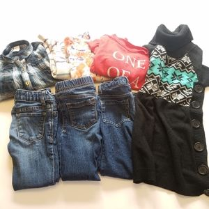 Girl's 5T Clothing Lot Jeans Shirts Dress 8 Items